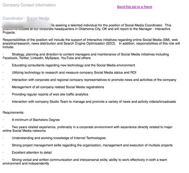 People looking for jobs, sample social media coordinator job description