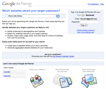 Google Ad Planner Beta