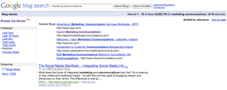 Google Blog Search Marketing Communications