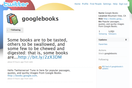 Google Books on Twitter