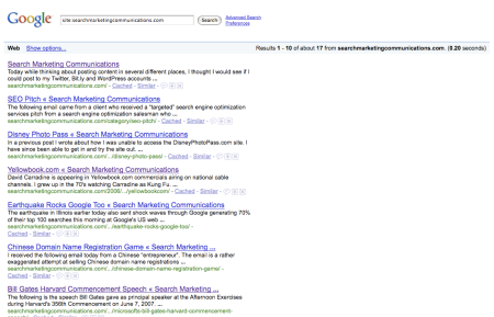 Google Index Search Marketing Communications