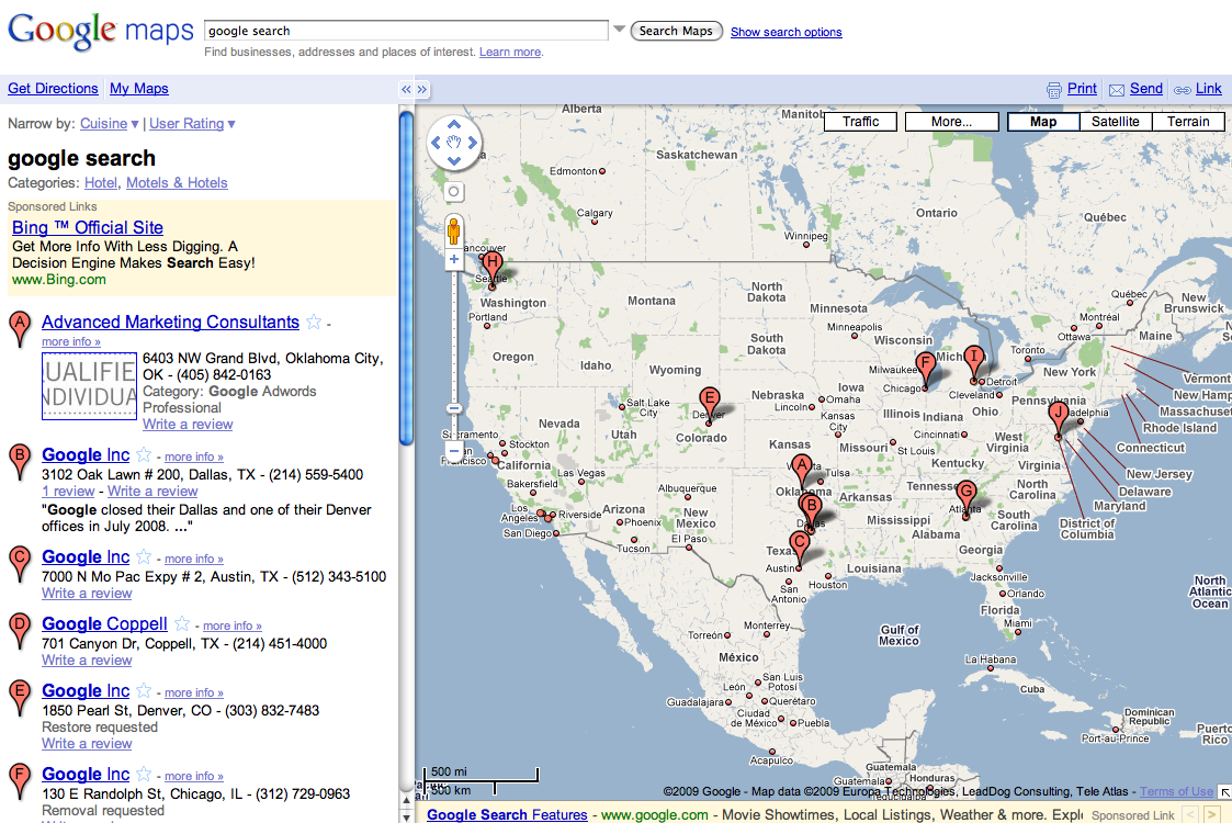 google maps google search