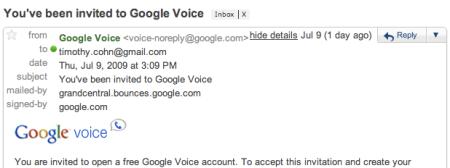 Google Voice Invitation