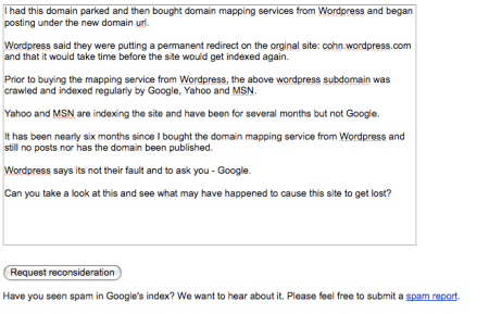 Google Webmaster Site Review Request