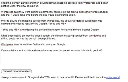 Google Webmaster Site Review Request