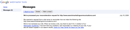 Google Webmaster Tools Reconsideration Request