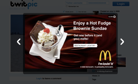 Twitpic Display Ad Overlays