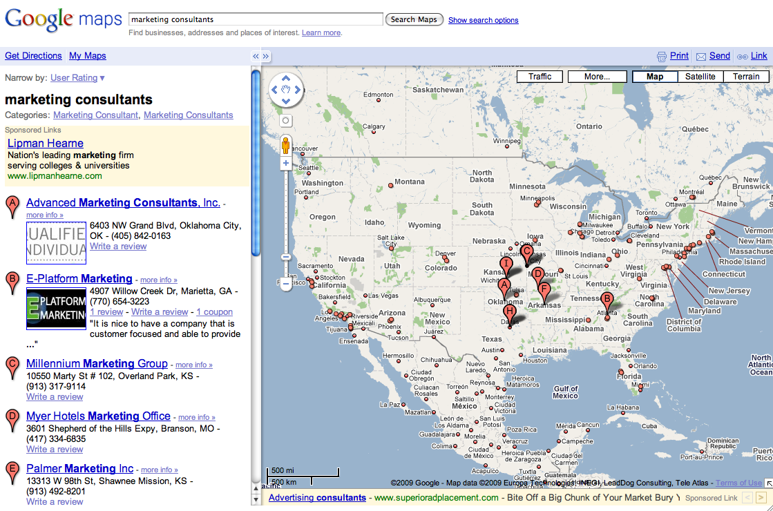 Google Maps Search Results | Search Marketing Communications