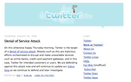 Twitter DDOS Attack Outage