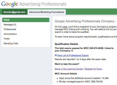 14,496 Days Since first Adwords Account creation