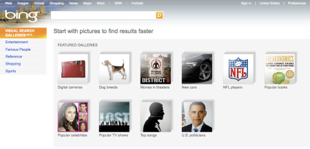 Bing Visual Search Galleries