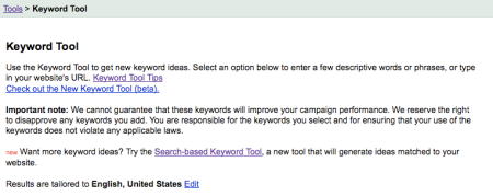 Google Adwords Keyword Tool Beta