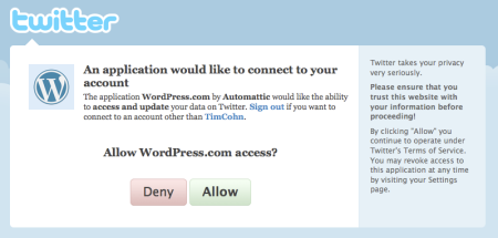 Wordpress Twitter Authorization