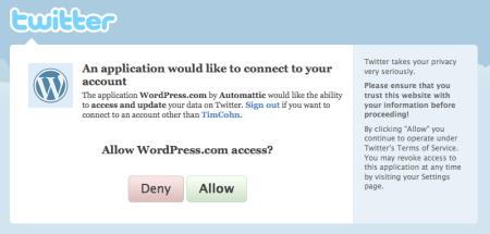 Wordpress Twitter Authorization