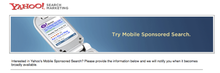 Yahoo Mobile Sponsored Search Registration