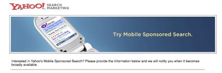 Yahoo Mobile Sponsored Search Registration