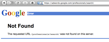 Google Advertising Professionals Search 404