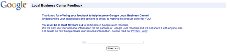 Google Local Business Center Feedback I