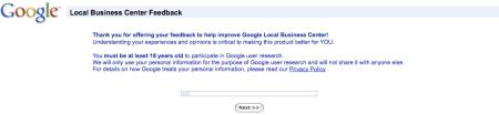 Google Local Business Center Feedback I