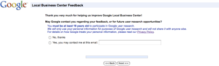 Google Local Business Center Survey VI