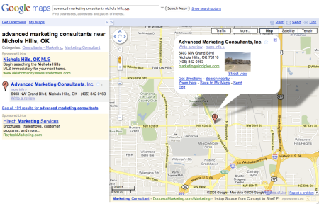Google Maps Advanced Marketing Consultants Nichols HIlls, OK
