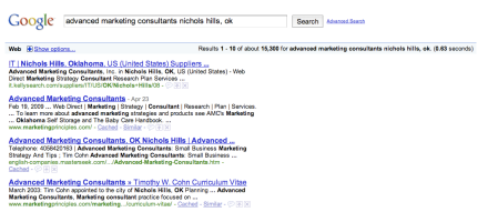 Google Web Search Advanced Marketing Consultants NIchols HIlls, OK