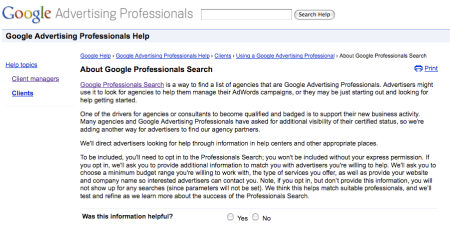 Search For Google Advertising Professionals