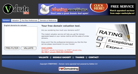 Valuate.com Free Domain Appraisal