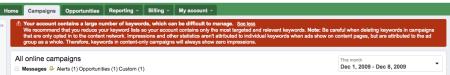 Adwords Account Warning