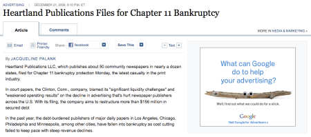 Heartland Publications Bankruptcy Google Ad