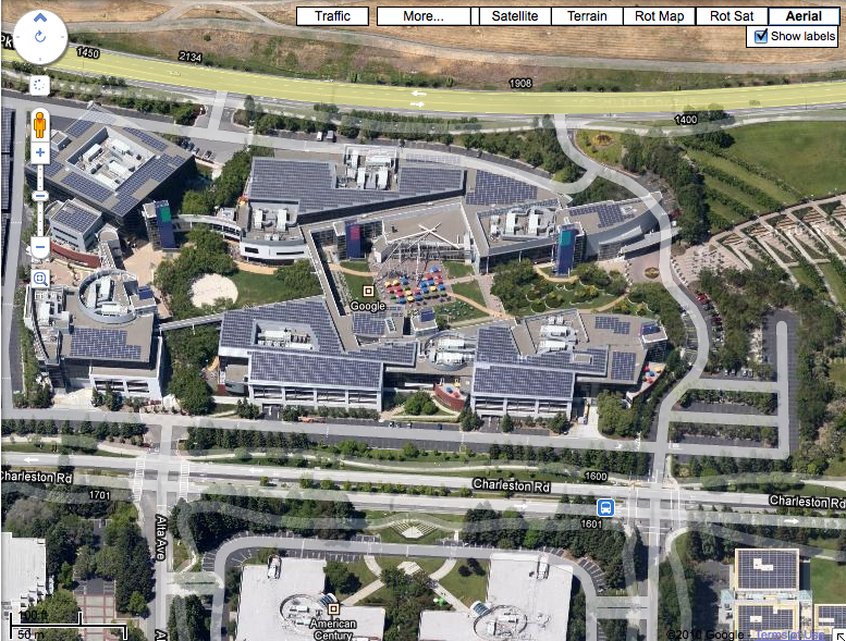 Aerial Imagery Of The Googleplex In Google Maps | Search