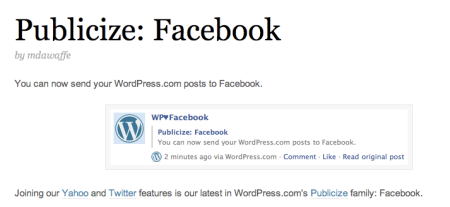 Publicize WordPress Facebook