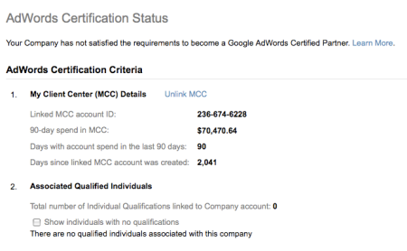 Adwords Certification Status