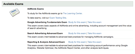 Available Google Exams