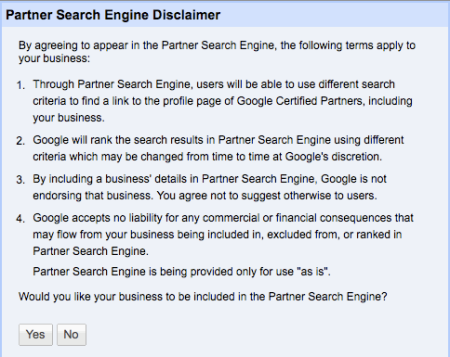 Google Partner Search Engine Disclaimer
