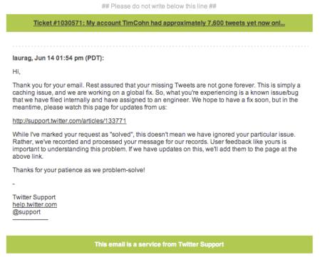 Twiiter Support Response