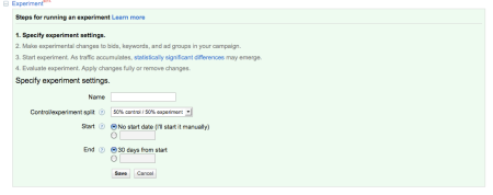AdWords Experiment Settings
