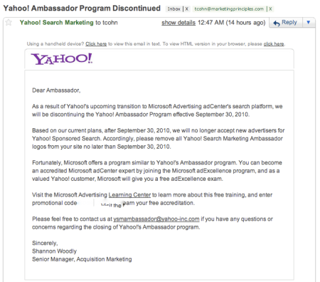 Yahoo Ambassador Program Discontinued