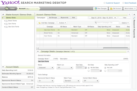 Yahoo Search Marketing Desktop
