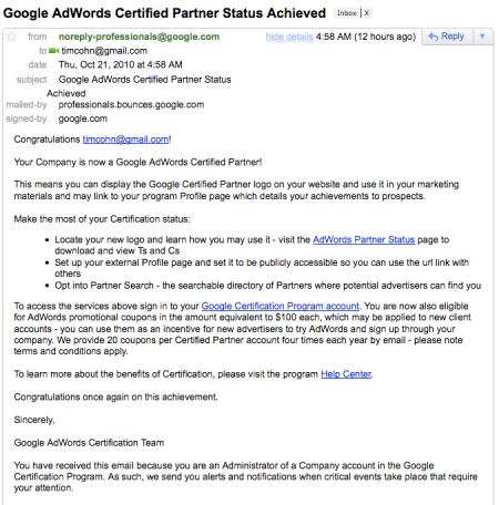 Google AdWords Certified Partner Status Achieved