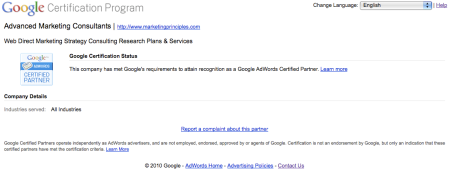 Google Certification Program Advanced Marketing Consultants
