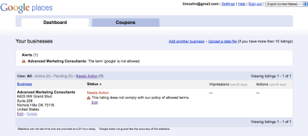 Google Places Policy of Allowed Terms