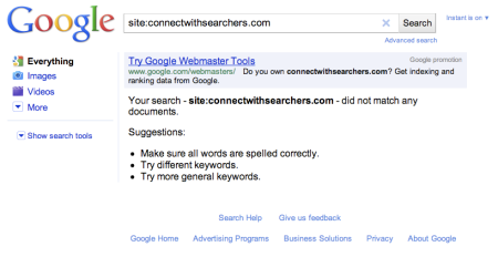 Site Searches Generate Google Webmaster Tools Ad