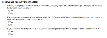 AdWords Class Action Settlement Questions