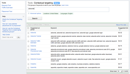 Contextual Targeting Suggested Ad Group + Keywords