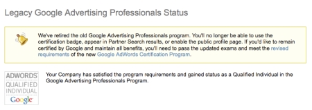 Google Advertising Professionals Program Retired