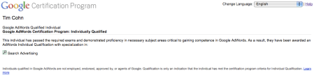 Google AdWords Qualiified Individual