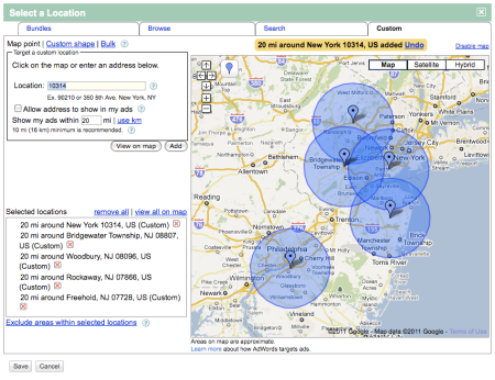 Bulk Upload 20 Miles Radius In Google AdWords