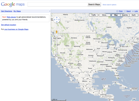 Google Maps Sans Default Location