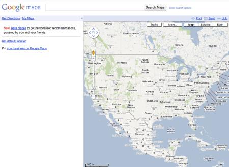 Google Maps Sans Default Location